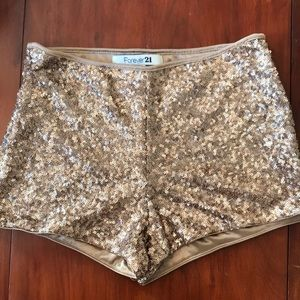 Forever 21 Gold Sequin Shorts